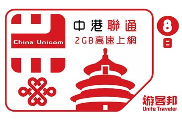 中港聯通8天SIM卡(2GB)--桃園機場取