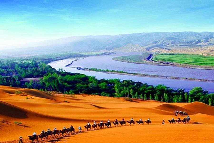 銀川~神奇寧夏、黃河石林、騰格里沙漠玻璃橋8日〔三排椅、升等凱賓斯基〕